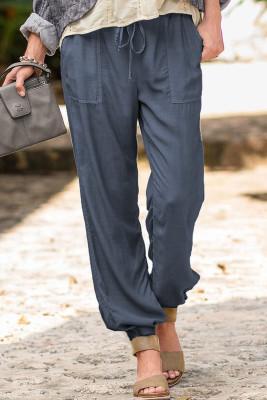 Blaue Freizeithose mit Kordelzug und elastischer Taille zum Anziehen mit Taschen