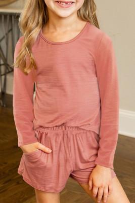 Rotes, lässiges Langarm-Pullover und Shorts-Set für kleine Mädchen