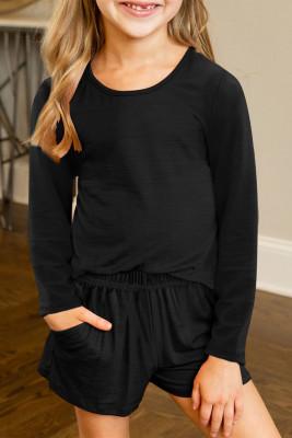 Schwarzes, lässiges Langarm-Pullover und Shorts-Set für kleine Mädchen