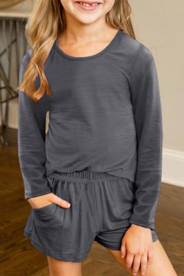 Graues lässiges Langarm-Pullover und Shorts-Set für kleine Mädchen