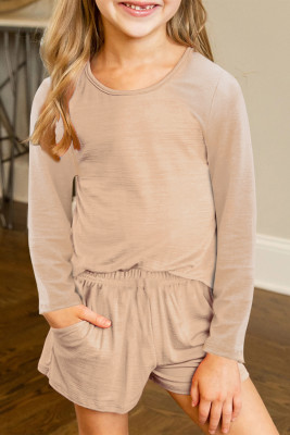 Apricot Little Girls Casual Langarm Pullover und Shorts Set
