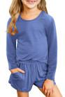 طقم كنزة صوفية وأكمام طويلة كاجوال للفتيات الصغيرات باللون الأزرق