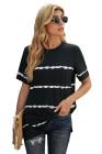 Camiseta casual de rayas con efecto tie-dye en negro