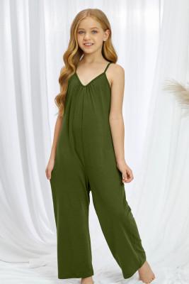 أفرول بناتي بحمالات سباغيتي خضراء واسعة الساق مع جيب
