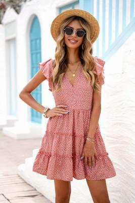 فستان قصير بدون أكمام مطبوع وردي