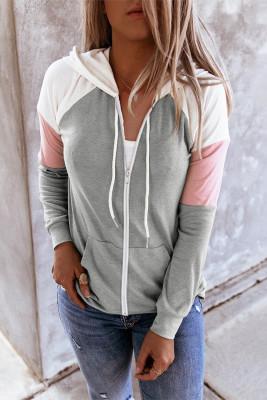 Sudadera con capucha y cordón de bolsillo de canguro con cremallera en bloque de color gris