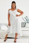 Vestido de encaje con hombros descubiertos y diseño asimétrico blanco