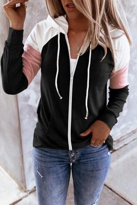Sudadera con capucha y cordón de bolsillo de canguro con cremallera en bloque de color negro