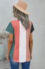 Top de manga corta con cuello en V multicolor en bloques de color
