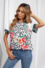 Camiseta de manga raglán de camuflaje floral de leopardo
