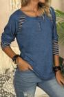 Camisa casual de rayas con cuello redondo en bloques de color azul