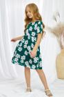 فستان نسائي متوسط الطول بياقة مستديرة وأكمام قصيرة وجيوب الأزهار