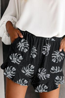 شورت أسود بخصر مطاطي بطبعة أوراق النخيل باللون الأسود مع جيب