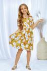 فستان أصفر قصير الأكمام بياقة مستديرة وجيوب زهرية للبنات ميدي