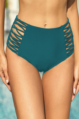 Braguitas de natación de cintura alta con lados huecos verdes