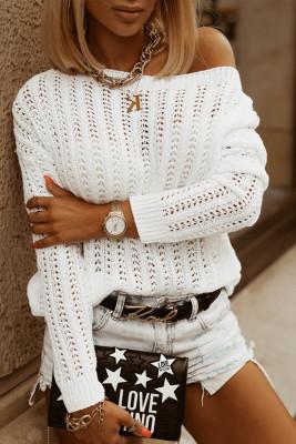 Suéter de punto con hombros caídos y hueco blanco