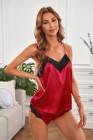 Красная кружевная пижама с v-образным вырезом из имитации шелка