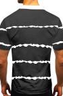 Черная мужская футболка с пуговицами в полоску