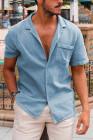 قميص أزرق سماوي بأزرار قصيرة الأكمام للرجال مع جيب