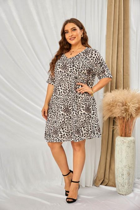 Minivestido leopardo de manga corta con bolsillo y talla grande