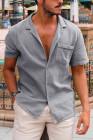 قميص رمادي بأكمام قصيرة مع جيب
