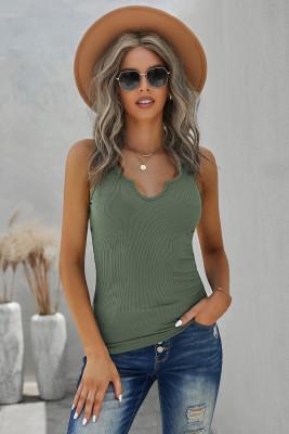 Camiseta sin mangas de punto de canalé con cuello dividido verde