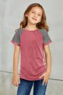 T-shirt rose à manches raglan pour enfant avec boutons latéraux