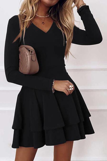 كم طويل رقبة على شكل V فستان قصير مكشكش على شكل حرف A
