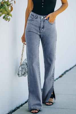 بنطال جينز بخصر مرتفع بخصر مرتفع أزرق اللون