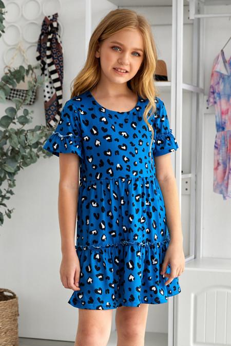 فستان بناتي مكشكش بنقشة جلد الفهد