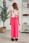 Rose Crewneck بلا أكمام الأزهار المرقعة فستان ماكسي للأطفال