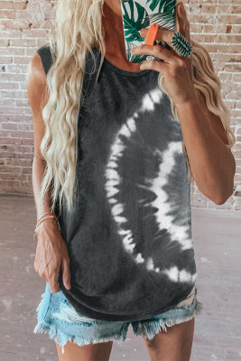 Camiseta sin mangas con efecto tie-dye gris