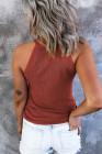 Красная однотонная трикотажная майка приталенного кроя в рубчик