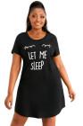 Talla grande LET ME SLEEP Mini vestido negro estampado con estampado gráfico