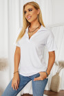 Camiseta blanca con cuello en V y mangas caídas