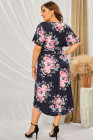 فستان متوسط الطول بفتحة رقبة على شكل V ومقاسات كبيرة