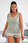 Conjunto de pijama de camisola gris con cuello redondo y talla grande