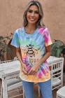 Camiseta Orange Bee Happy de mezcla de algodón con efecto tie-dye