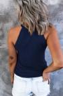Синяя однотонная трикотажная майка приталенного кроя в рубчик