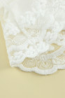 Top con volantes de malla de encaje con cuello redondo de color liso blanco