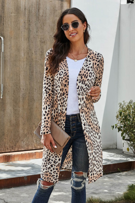 Cárdigan largo estampado leopardo