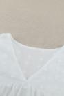 Белая блузка больших размеров в горошек в швейцарский горошек с V-образным вырезом и рукавами-фонариками