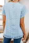 Camisetas de lunares suizos con mangas con volantes azul cielo