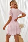 Minivestido de manga corta con volantes y cuello en V rosa con lunares