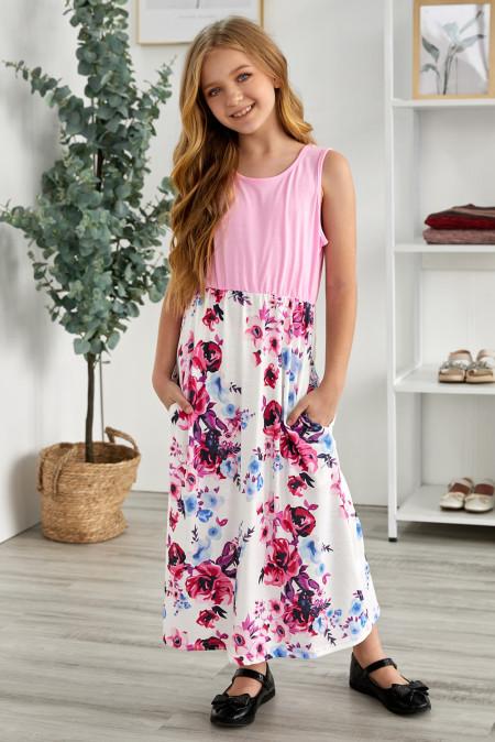 فستان ماكسي للأطفال مطبوع عليه زهور وردية بدون أكمام متناسق مع أمي وابنتها