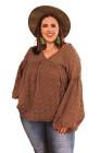 Блузка больших размеров в швейцарский горошек с V-образным вырезом и рукавами-фонариками