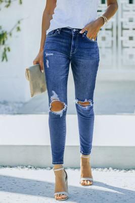 بنطال جينز ضيق أزرق