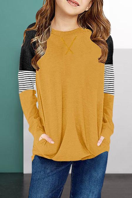Chemisier à manches longues et à rayures jaunes pour filles avec poche