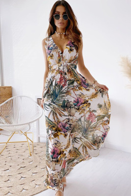 Vestido largo estampado floral con cuello en V y espalda abierta sin mangas blanco