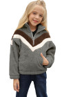 Sweat-shirt en molleton à demi-zip pour fille à rayures grises et color block avec poche
